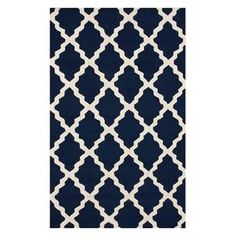 navy lattice rug