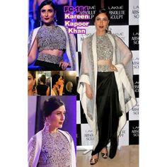 Bollywood Replica-Karishma Kapoor Designer Black & Off-White Heavy Worked Party Wear Dress-FC164(MJ-FC-157)