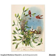 This postcard features a vintage illustration of birds, mistletoe and a church. The back of the original card indicates that it is made in Germany and that it was postmarked in Enjoy your new Vintage Birds Mistletoe and Church Christmas Postcard! Christmas Graphics, Christmas Images, Vintage Christmas, Winter Christmas, Vintage Invitations, Invitation Paper, Williamsburg Christmas, Vintage Birds, Vintage Greeting Cards