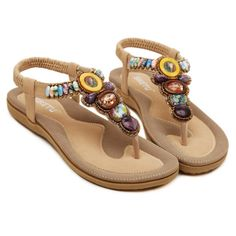 DQQ Damen Bohemian Perlen T Strap String Sandale, Schwarz - Schwarz - Größe: 37