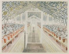 Eric Ravilious 'The Greenhouse: Cyclamen and Tomatoes', 1935