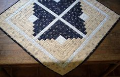 Quilted Table topper  Winter Log Cabin Table by RedNeedleQuilts, $65.00
