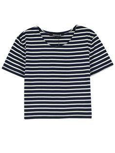 Monochrome Stripe Short Sleeve Crop Top