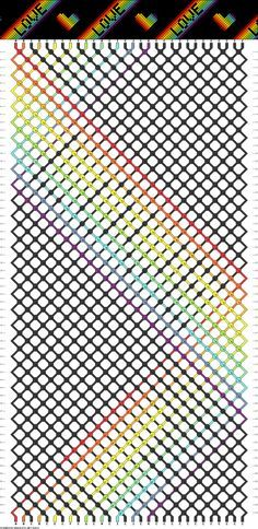 Friendship bracelet - pattern 54500 - 30 strings 11 colours - love and ❤️ on black