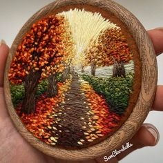 These autumn vibes from are dreamy 😍 . Modern Embroidery, Hand Embroidery Patterns, Floral Embroidery, Cross Stitch Embroidery, Embroidery Designs, Yarn Crafts, Sewing Crafts, Diy Arts And Crafts, Cool Diy Projects