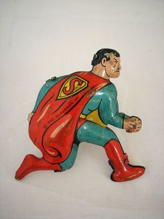 Vintage Superman 1940 Tin Lithograph Wind Up Toy Piece Marx USA Estate RARE 40s