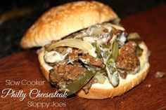 Slow Cooker Philly Cheesesteak Sloppy Joes (made with ground beef)! Dog Recipes, Healthy Crockpot Recipes, Slow Cooker Recipes, Mexican Food Recipes, Crockpot Meals, Recipies, Sandwich Recipes, Salad Recipes, Cooking Recipes
