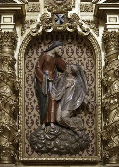 Blessed Reginald clothed by Our Lady / Beato Reginaldo de Orleans recibiendo la casulla de manos de Nuestra Señora // This reredos of Blessed Reginald being clothed is in the Dominican nuns' church in Caleruega, Spain. // photo: Lawrence OP