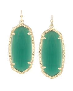 Elle Earrings in Emerald Cat's Eye or GREEN   *** free shipping & 15% off using Code PTMTBDAY until 8/14/15