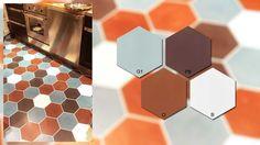 Vloer of wand van zeshoekige tegels