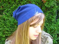 Cashmere Slouchy, Wool Hat, Wool Toque, Slouch Beanie made from a recycled stripe navy and black cashmere sweater