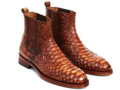 Paul Parkman Goodyear Welted Python Boots Brown (ID Brown Shoe, Brown Boots, Coronado Leather, Blue Button Up Shirt, High End Shoes, Driving Loafers, Designer Clothes For Men, Goodyear Welt, Penny Loafers