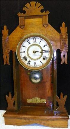 Antique 1800s Wood Case Ansonia Glass Metal Pendelum Repair Mantel Clock | eBay