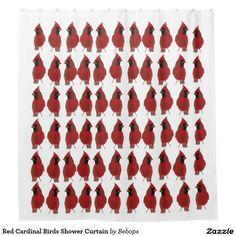 Red Cardinal Birds Shower Curtain