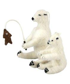 Look at this #zulilyfind! Ice Fishing Polar Bear Ornament Set #zulilyfinds