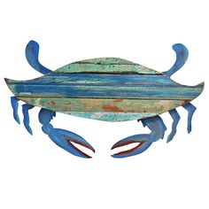 Recycled Folk Crab Wall Art: Beach Decor, Coastal Decor, Nautical Decor, Tropical Decor, Luxury Beach Cottage Decor