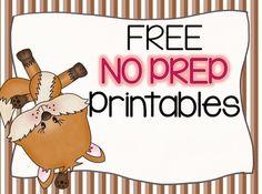 FREE NO PREP Foxy Math Printables