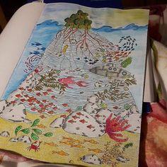 Koloruje nudę albo raczej relaksuje się gdy dzidka śpi  #pokolorujnudę #sztukakolorowania #wyspy #mondeluz72 #anitagraboś #kolorowanki #ozdabianki #malowanki