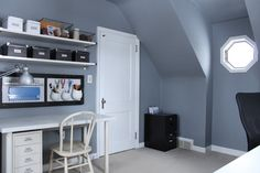 Office organization , need shelves. Office Wall Organization, Organization Ideas, Organizing, Desk Ideas, Office Ideas, Play Therapy, Working Area, Frugal Living, Cape Cod