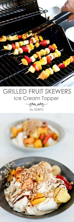 Grilled fruit skewer
