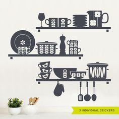 Nordic Kitchen Shelves Wall Sticker