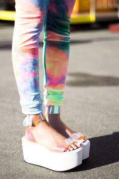 fashion shoes street style platforms blogger leggings tie dye unif holographic 90s style style2bones spacer platform sandal