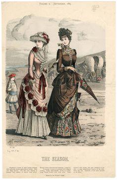The Season 1883 September Victorian Era Fashion, 1880s Fashion, Victorian Costume, Vintage Fashion, Victorian Corset, Historical Costume, Historical Clothing, Steampunk, Fashion Illustration Vintage