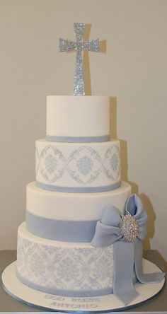 This was originally a First Communion cake, but think about how beautiful it would be as a wedding cake with the Bride and Groom's monogram on the top tier.