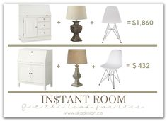 Get the Look for Less | Home Office - http://akadesign.ca/home-office-for-less-instant-room/