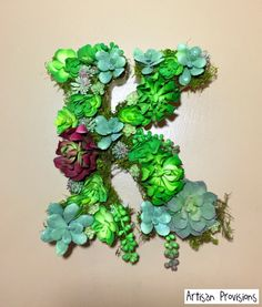 Free shipping! Monogram letter succulent wall décor  https://www.etsy.com/listing/504590472/free-fast-shipping-a-z-succulent-wall