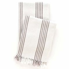 Pine Cone Hill | Ibiza Shale Throw | Reminiscent of vintage striped supply sacks, this woven cotton throw adds a bit of European flair to your décor.