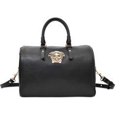 Versace PALAZZO MEDIUM BOWLING BAG (49,400 PHP) ❤ liked on Polyvore featuring bags, handbags, black, bowler bag, black bag, bowling bag, black bowling bag and bowler handbags
