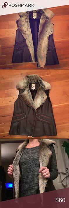 From Free People vegan leather faux fur vest Size small faux fur lined vegan leather vest. Perfect for over a hoodie. Zip pockets in front. Size small. Purchased from free People online but the tag says jkt vegan so I think that's the brand. If u want before Xmas order by the 16th cuz I'll be out of town a few days:) Free People Jackets & Coats Vests