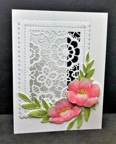 handmade greeting card by hobbydujour: CAS428 May Flowers ... white card base with window die cut covered by scalloped frame and die cut lace ... watercolored stamped flowers and leaves ... lovely vignette ...