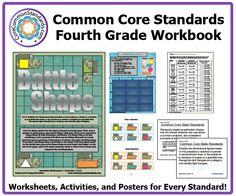 Fourth grade common core activities 3 Fourth Grade Common Core Workbook Download - Worksheet printables, games and activities for targeting the Math and ELA CCSS. Comes with free posters!
