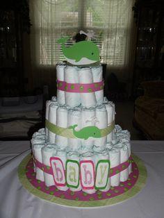 Diaper cake idea (of course Alice themed)