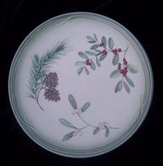 Pfaltzgraff Winterwood Dinner Plates Two 11 inch Pinecone Holly Canvas Tan #Pfaltzgraff