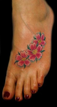 cherry blossom tattoo designs | ... Tattoos Flower Cherry Blossoms On Foot Tattoo Tattoo Design #11332