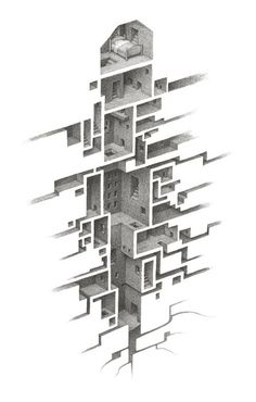Visualization / Exploring A Hypnagogic City Drawings by artist Mathew Borrett