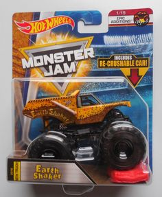 2018 Hot Wheels Monster Jam Earth Shaker Truck w/ crush car Monster Jam, Monster Trucks, City Car, 5th Birthday, Hot Wheels, Cars For Sale, Diecast, Crushes, Diy
