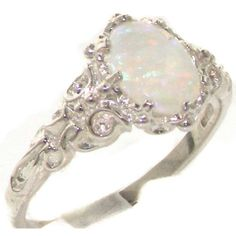 Luxurious Solid Sterling Silver Natural Opal Womens Solitaire Ring