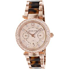 This unique Michael Kors MK5841 womens analog quartz watch features a rose gold dial, 3 subdials, and a rose gold stainless steel case and band.