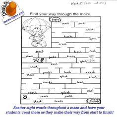 TeacherTipster.com - Maze Sight Words