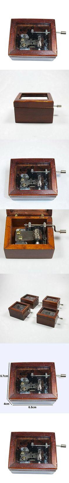 Home Decor Wood Retro Fashion Mini Wooden Hand Crank Music Box Creative Gift Music Box Rabbit