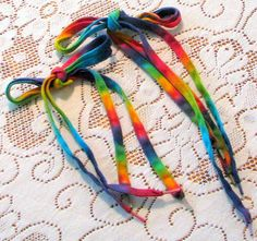 Tie Dye Rainbow Cotton Shoelaces by inspiringcolor on Etsy, $5.50