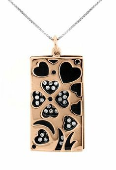 """14kt Rose Goldplated and Black Rhodium over Sterling Silver 925 Two-tone Clear Cubic Zirconia Rectangle Pendant Necklace - 18"""" Sterling Silverado. $74.99. Model # 206430-A. Two-tone. Sterling Silver. Clear Cubic Zirconia / Micro-pave. 14kt Rose Goldplated / Black Rhodium"""
