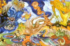 Creation of the World (Stanislaw Witkiewicz - ) Cobra Art, Creation Myth, Naive, Art And Architecture, Figurative Art, Surrealism, Weird, Artist, Mysterious