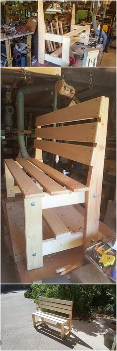In this image, we have the introduction effect of the wood pallet DIY bench design with the infusion Woodworking Projects Diy, Diy Pallet Projects, Woodworking Furniture, Diy Wood Projects, Diy Furniture Chair, Pallet Furniture, Diy Bank, Pallet Creations, Diy Holz