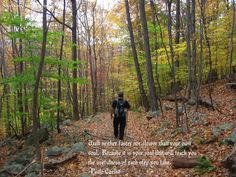 A beautiful quote with a beautiful fall hiking picture I took on the Musconetcong River Trail last fall.