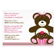 Chocolate Teddy Bear Cupcake Birthday Invitations